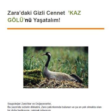 Kaz Gölü'nü Yaşatalım!